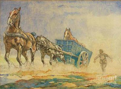 Trench Painting - A Horse Ambulance In World War One by John Edwin Noble