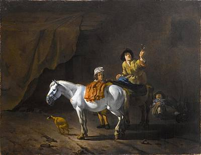 A Horseman Holding A Roemer Of Wine With An Ostler Tending The Horses Art Print by Karel Dujardin