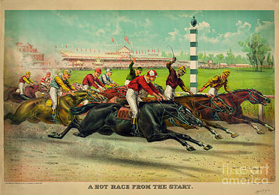 A Hot Race From The Start Art Print by Celestial Images
