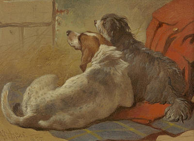 Painting - A Hound And A Bearded Collie Seated On A Hunting Coat by Treasury Classics Art