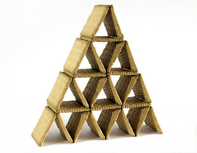 Sweet Success Photograph - A House Of Cards Made Of Biscuits  by Bratislav Stefanovic