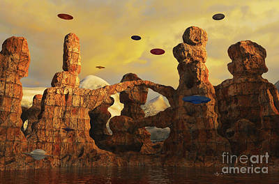 Digital Art - A Hover Of Saucers by Dave Luebbert