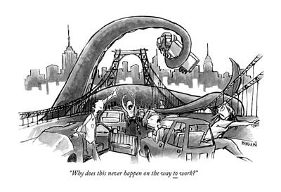 Corey Pandolph Drawing - A Huge Octopus Tentacle Wraps Over A Brigde by Corey Pandolph