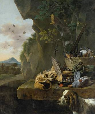 Dog In Landscape Painting - A Hunting Still Life With A Bittern And A Dog In A Landscape by Jan Weenix