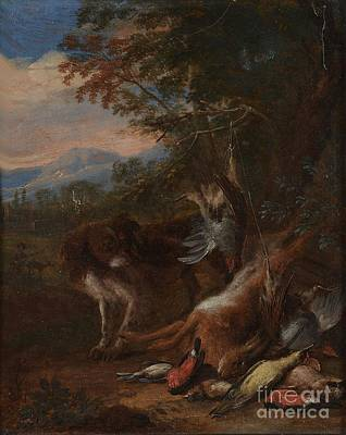 Still Life Painting - A Hunting Still Life With A Spaniel by MotionAge Designs