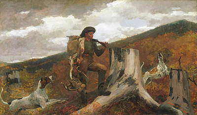 Art Print featuring the painting A Huntsman And Dogs - 1891 by Winslow Homer