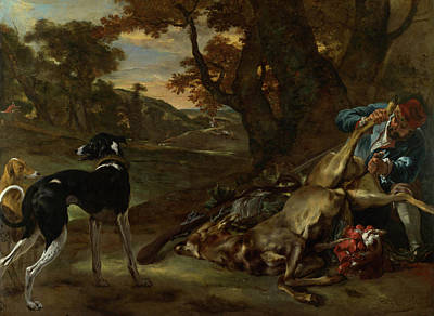 Carcass Painting - A Huntsman Cutting Up A Dead Deer, With Two Deerhounds by Jan Weenix