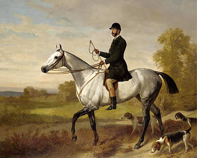 Emil Adam Painting - A Huntsman With Horse And Hounds by Emil Adam