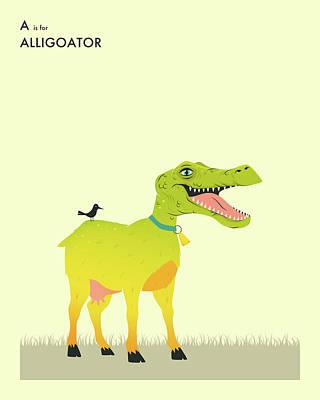 Goat Digital Art - A Is For Aligoator by Jazzberry Blue