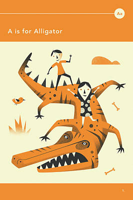 Alligator Digital Art - A Is For Alligator by Jazzberry Blue