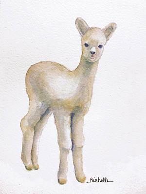 Alpaca Painting - A Is For Alpaca by Richelle Siska