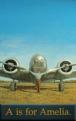 Aviator Painting - A Is For Amelia by Laurie Stewart