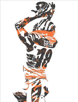 Mixed Media - A J Green Cincinnati Bengals Pixel Art 6 by Joe Hamilton