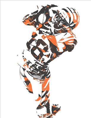 Mixed Media - A J Green Cincinnati Bengals Pixel Art 7 by Joe Hamilton