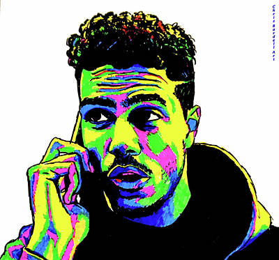 Grime Drawing - A J Tracey Abstract by Chris Bardell