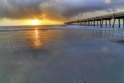 A Jacksonville Beach Sunrise - Florida - Ocean - Pier  Art Print