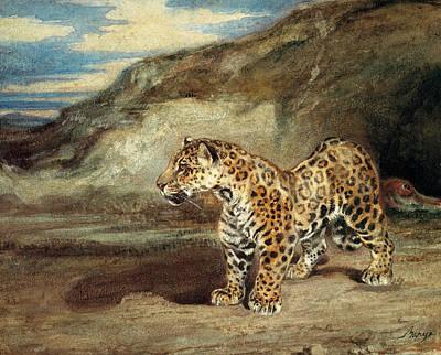 Glen Painting - A Jaguar In A Landscape by Antoine Louis Barye