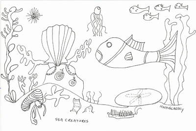 A Jellie And Sea Creatures Art Print