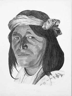 Pencil Native American Drawing - A Jemez Indian by Randy Reed