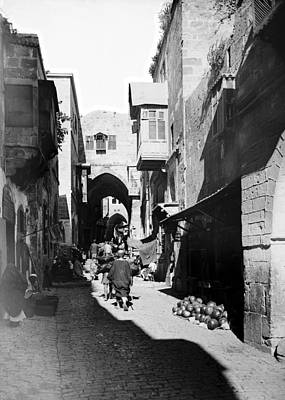 Photograph - A Jerusalem Street In 1900 by Munir Alawi