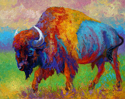 Prairie Painting - A Journey Still Unknown - Bison by Marion Rose