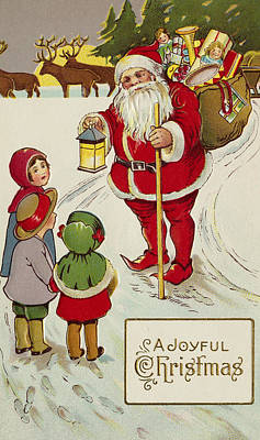 Joyful Drawing - A Joyful Christmas Postcard by Unknown