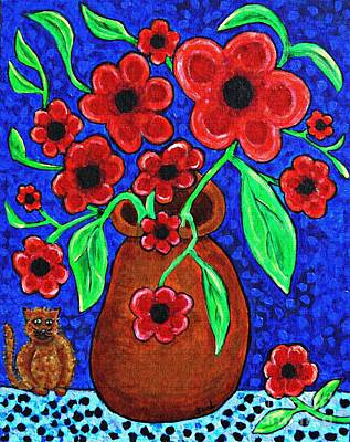 Painting - A Jug Of Red Flowers by Sarah Loft