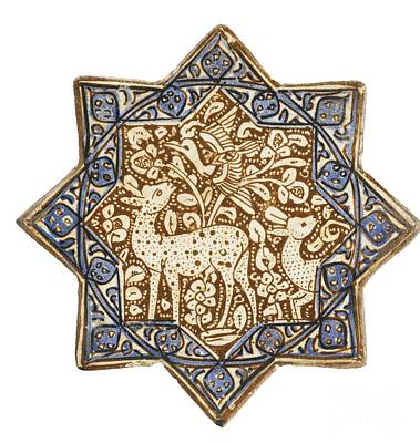 14th Century Painting - A Kashan Lustre Pottery Star Tile With Gazelles In Foliage by Celestial Images