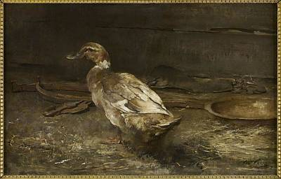 A Summer Evening Landscape Painting - A Khaki Campbell Duck - Sir George Pirie by Sir George Pirie