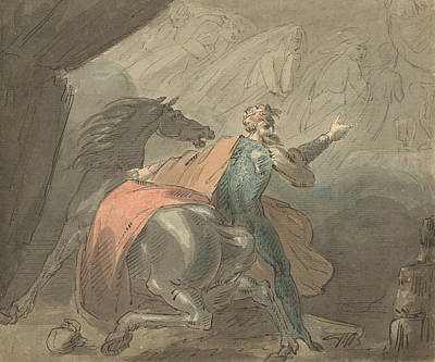 Drawing - A King And A Horse With Ghostly Women by Treasury Classics Art