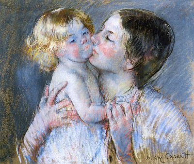 Cassatt Pastel - A Kiss For Baby Anne by Mary Stevenson Cassatt