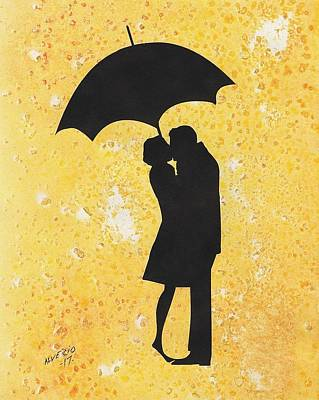 Painting - A Kiss Under Umbrella  by Edwin Alverio