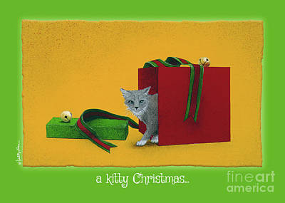 Painting - a kitty Christmas... by Will Bullas