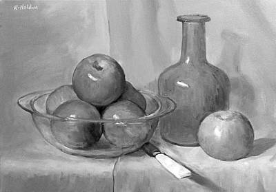 Painting - A Knife And Six Apples by Robert Holden