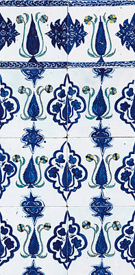 Blue Painting - A Kutahya Blue, White And Yellow Pottery Panel by Eastern Accents