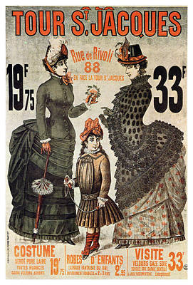 Royalty-Free and Rights-Managed Images - A la Tour St.Jacques - Rue de Rivoli - Vintage Fashion Advertising Poster - Paris, France by Studio Grafiikka