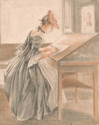 Paul Drawing - A Lady Copying At A Drawing Table by Paul Sandby