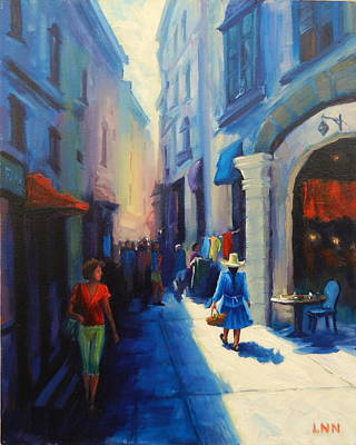 Painting - A Lady From Cajamarca In The City, Peru Impression by Ningning Li