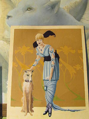 Painting - A Lady, Her Dog And Panther by Adriaan Brolsma