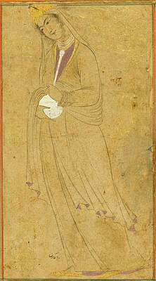 Safavid Painting - A Lady Holding A Bottle by Aqa Reza