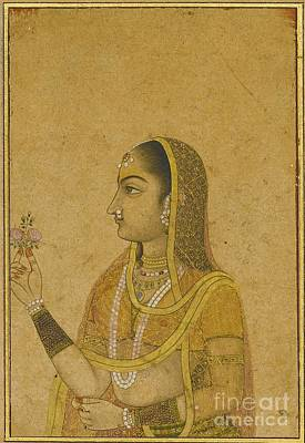Holding A Flower Painting - A Lady Holding A Flower by Celestial Images