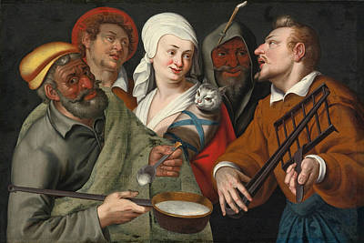 A Lady Holding A Swaddled Cat A Man With A Pan Of Porridge Another Playing With Fire Irons And Two O Art Print