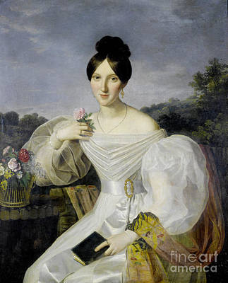Shawl Painting - A Lady In A White Dress And Shawl Before A Viennese Landscape by Celestial Images