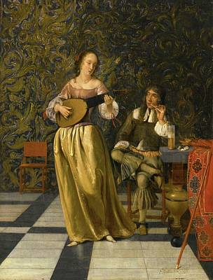 Woman Playing A Lute Painting - A Lady Playing A Lute With A Gentleman Seated At A Table In An Interior by Eglon Hendrik