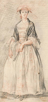 Paul Drawing - A Lady With A Fan by Paul Sandby