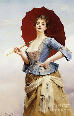 Corset Painting - A Lady With A Parasol by Gustave Jean Jacquet