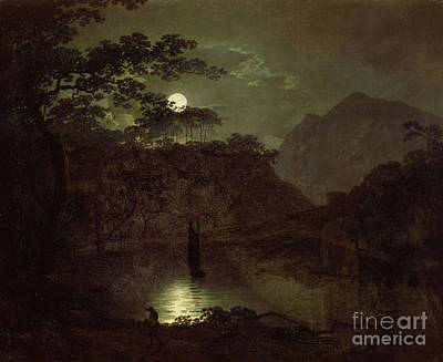 Full Moon Painting - A Lake By Moonlight by Joseph Wright of Derby