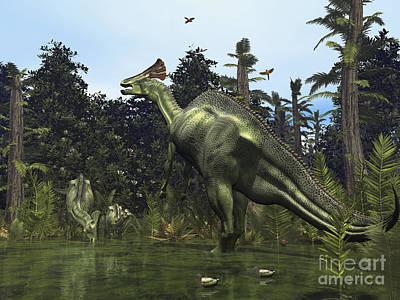 A Lambeosaurus Rears Onto Its Hind Legs Art Print by Walter Myers