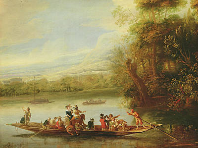 Boats In Reflecting Water Painting - A Landscape With A Crowded Ferry Crossing The Water In The Foreground  by Willem Schellinks