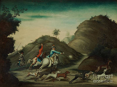 Reverse Painting - A Landscape With A Hunting Scene by Celestial Images